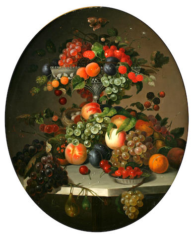 Charles Baum (American, 1812-1877) Still Life of Fruit in an Ewer on a Marble Table painted oval, 30 x 25in