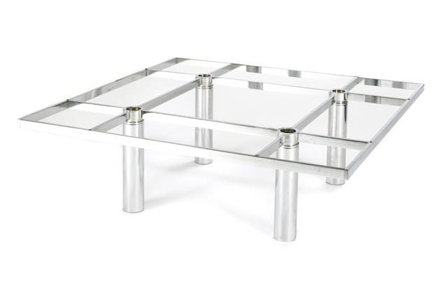 A Tobia Scarpa Andre chrome and glass  coffee table