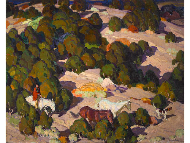 William Herbert Dunton (American, 1878-1936) Composition for 'Sunset in the Foothills' 16 x 20in