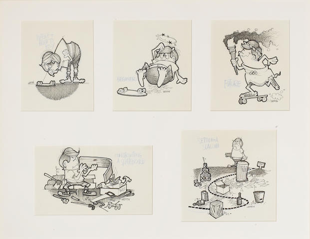 Rick Griffin: five original introduction to skateboarding cartoons, circa 1964/65,