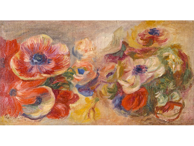 Pierre-Auguste Renoir (French, 1841-1919) Anemones 8 1/4 x 14 3/4in (21 x 37.5cm)