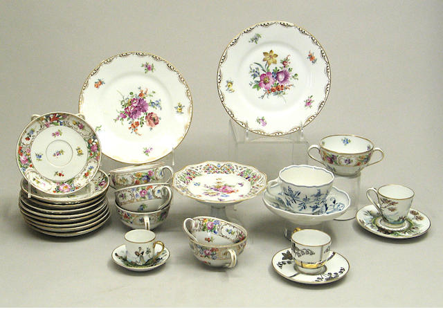 An assembled grouping of mainly German porcelain
