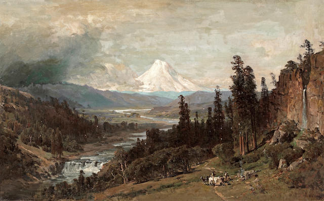 Thomas Hill (1829-1908) An Expansive Landscape with Mt. Hood Beyond 30 x 48in