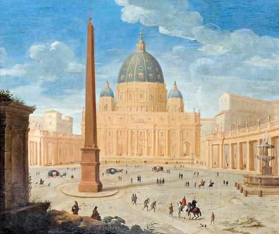 Roman School, 17th Century A view of St. Peter's Basilica, Rome; A view of Saint'Ivo alla Sapienza, Rome (a pair) 48 x 57in (122 x 144.8cm)