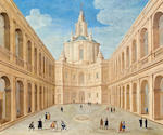 (n/a) Roman School, 17th Century A view of St. Peter's Basilica, Rome; A view of Saint'Ivo alla Sapienza, Rome (a pair) 48 x 57in (122 x 144.8cm)