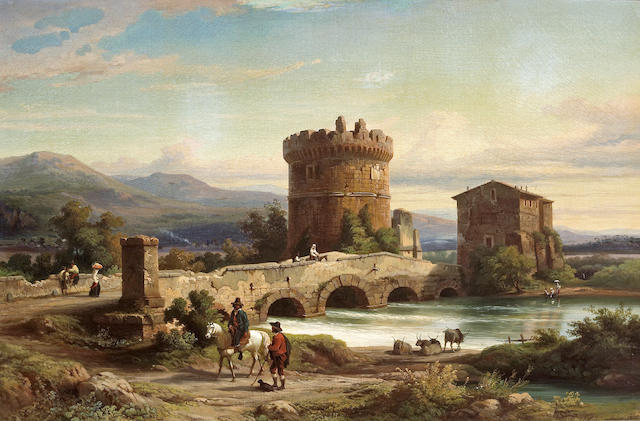 Franz Knebel (Swiss, 1809-1877) A view of the Ponte Lucano and the Sepolcro dei Plautii at Tivoli 27 x 41in (68.6 x 104.1cm)