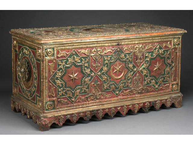 A Hispano-Moorish parcel gilt and polychrome hardwood coffer