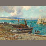 Owen Bowen (British, 1873-1967) Boats on a beach, Isle of Man 18 x 24in (45.7 x 61cm)