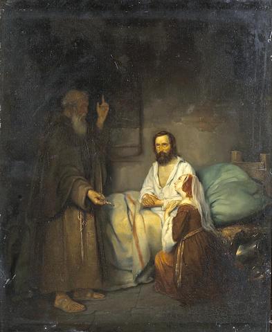 Pieter van Hanselaer (Flemish, 1786-1862) The last rites 22 1/4 x 18 1/2in (56.5 x 47cm)