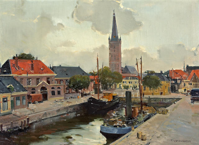 Piet van der Hem (Dutch, 1885-1961) A view of a canal 23 x 31in (58.4 x 78.7cm)