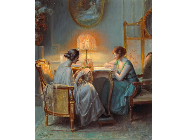 Delphin Enjolras (French, 1857-1945) Le boudoir 21 3/4 x 18 1/4in (55.3 x 46.3cm)