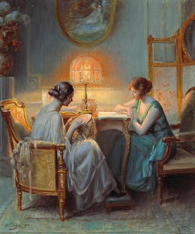 Delphin Enjolras (French, 1857-1945) Le boudoir 21 3/4 x 18 1/4in (55.3 x 46.3cm)