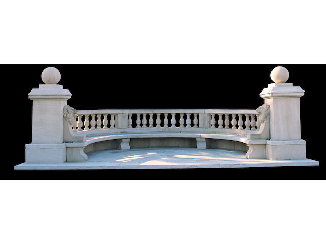 A fine Neoclassical style limestone bench and plinth floor