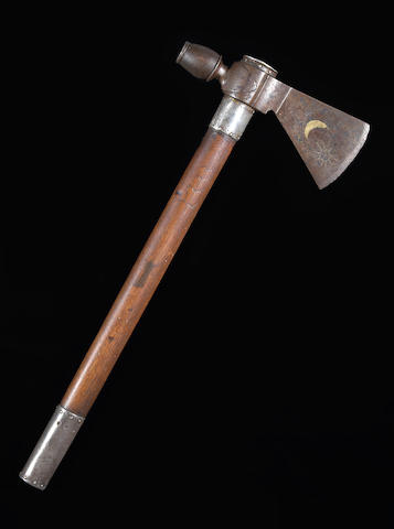 A fine silver-mounted pipe tomahawk