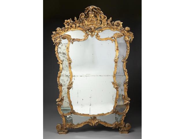A fine Italian Rococo style giltwood pier mirror