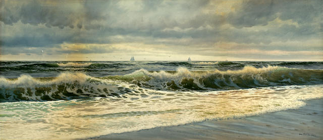 George Howell Gay (American, 1858-1931) Waves crashing on the shore 14 1/4 x 32in