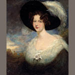 Manner of Sir Thomas Lawrence A portrait of a lady, half-length, in a picture hat decorated with an ostrich plume 30 x 25in (76.2 x 63.5cm)