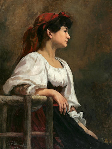 Anna Elisabeth Klumpke (American, 1856-1942) Seated Woman with a Red Kerchief 36 x 28 1/2in