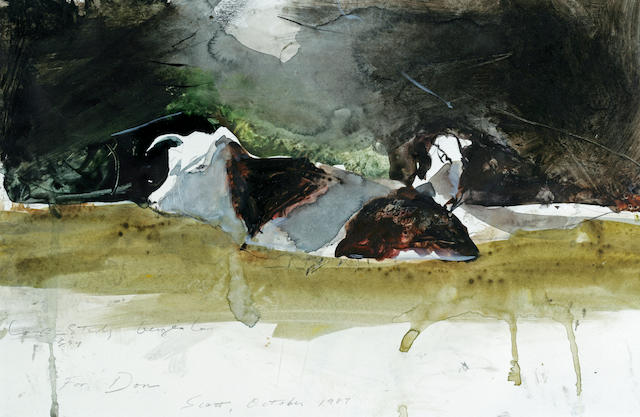 Stephen Scott Young (American, born 1957) Cow Study 11 1/2 x 14 1/2in