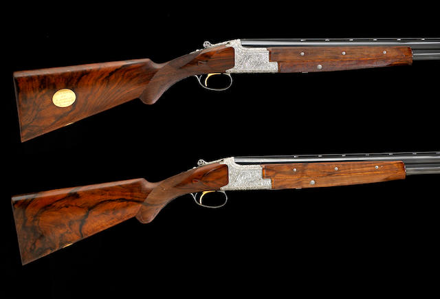 A pair of custom Browning presentation Superposed 12 gauge shotguns