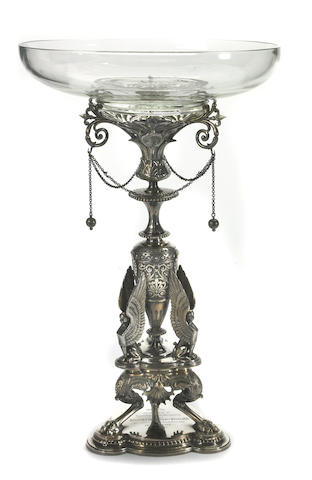 Victorian Plated Dessert Stand by Elkington, with Later Glass Fitting