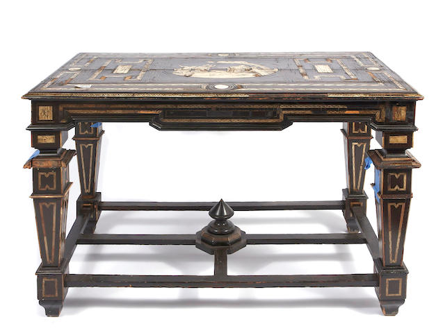 A Milanese bone and ivory inlaid ebonized table
