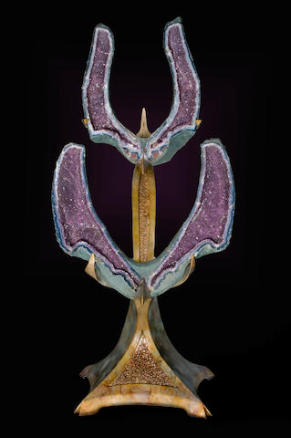 """Rising Phoenix"" Amethyst on Bronze Totem"