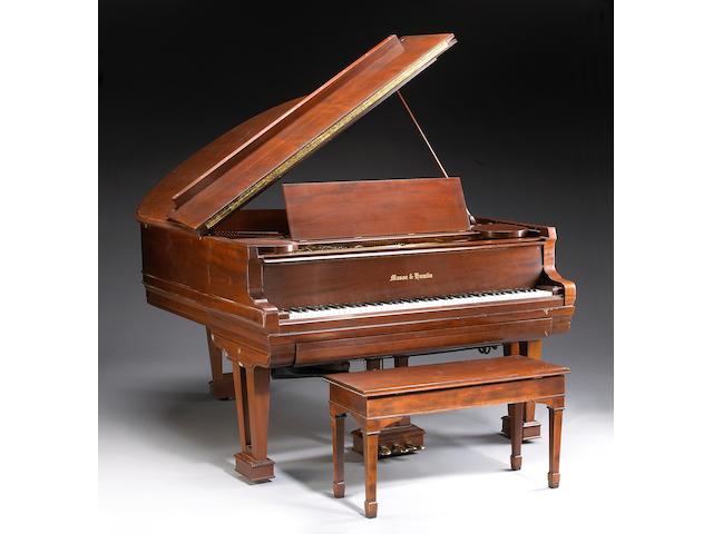 A Mason and Hamlin mahogany gramd player piano with Ampice player