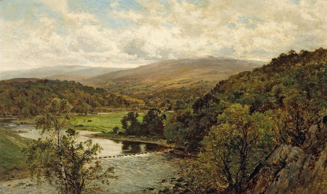 (n/a) Alfred Augustus Glendening (British, 1840-1921) An extensive river landscape with mountains beyond 30 x 50in (76.2 x 127cm)