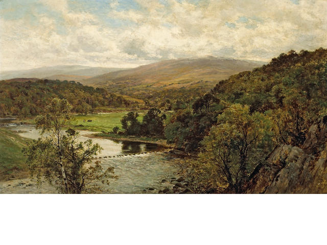 Alfred Augustus Glendening (British, 1840-1921) An extensive river landscape with mountains beyond 30 x 50in (76.2 x 127cm)