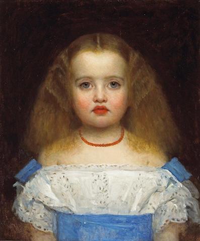 Liévin de Winne (Belgian, 1821-1880) A portrait of a young girl with a coral necklace 18 1/2 x 15 1/4in (47 x 38.5cm)
