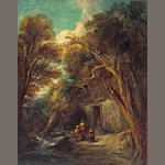 Manner of Thomas Gainsborough A cottage in a forest with figures at the door 50 1/4 x 40in (127.5 x 101.5cm)