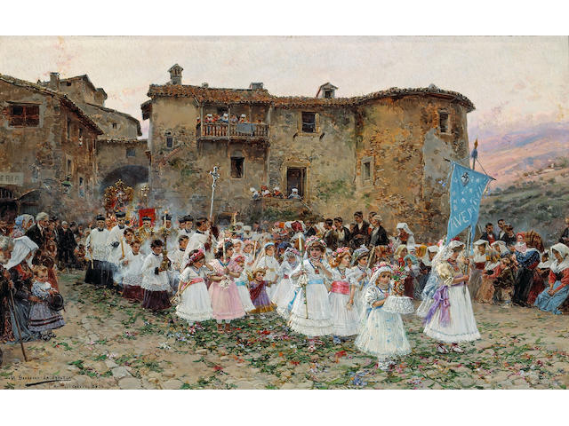 Mariano Barbasán Lagueruela (Spanish, 1864-1924) The first communion 7 x 11 1/4in (17.8 x 28.5cm)