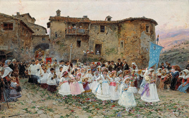 Mariano Barbasán Lagueruela (Spanish, 1864-1924) The first communion 7 x 11 1/4in (17.8 x 28.5cm)