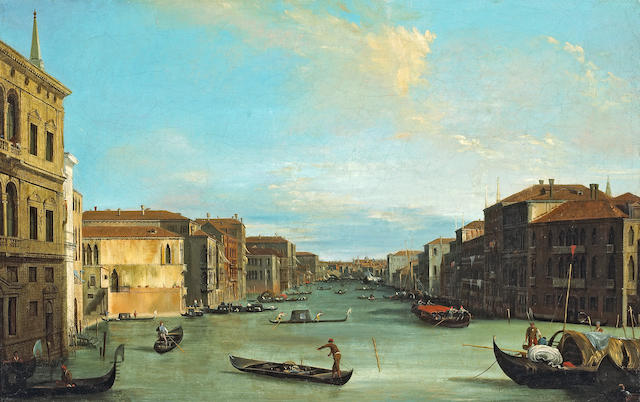 Follower of Antonio Canal, called il Canaletto (Venice 1697-1768) A view of the Grand Canal 19 x 29 1/2in (48.3 x 75cm)