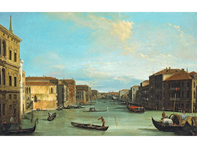 Follower of Antonio Canal, called il Canaletto (Italian, 1697-1768) A view of the Grand Canal 19 x 29 1/2in (48.3 x 75cm)