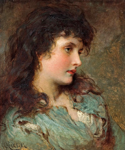 George Elgar Hicks, RBA (British, 1824-1914) Maud Muller 18 1/2 x 15 1/2in (47 x 39.5cm)