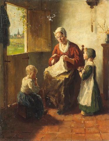 Bernard De Hoog (Dutch, 1867-1943) Motherly care 20 x 16in (50.8 x 40.6cm)