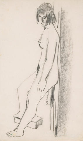 David Park (American, 1911-1960) Standing Woman Against Wall, 1958 19 x 12in (48 x 30cm)