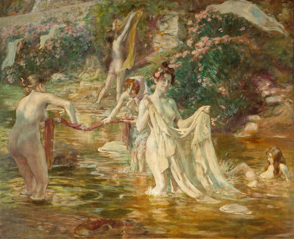Alphonse Etienne Dinet (French, 1861-1929) Women washing clothes in a stream 32 1/2 x 40 1/4in (82.5