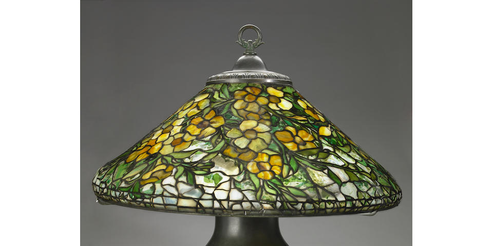 A Tiffany Studios Favrile glass and bronze Allamander lampshade