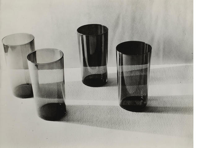Ruth Bernhard (American, 1905-2006); Tumblers, Burgundy and Blue Glass;