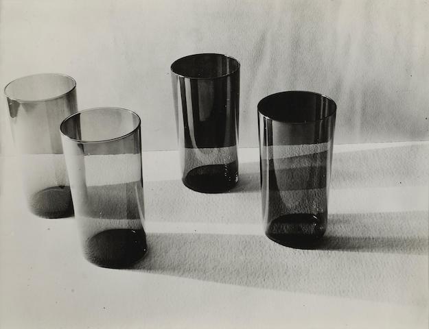 Ruth Bernhard (American, 1905-2006); Tumblers, Burgundy and Blue Glass;