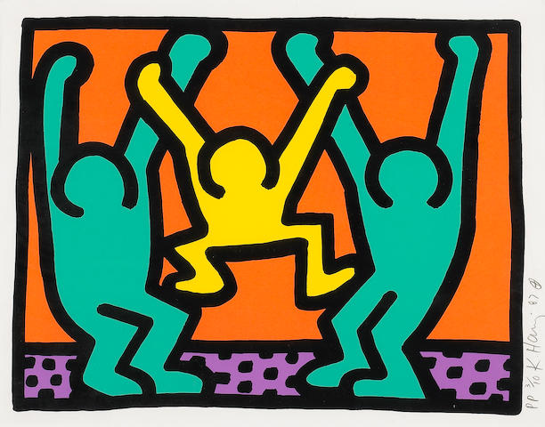 Keith Haring (American, 1958-1990); Pop Shop Quad 1; (4)