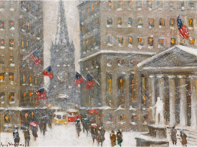 Guy Carleton Wiggins (American, 1883-1962) The Financial District, New York Winter 12 x 16in