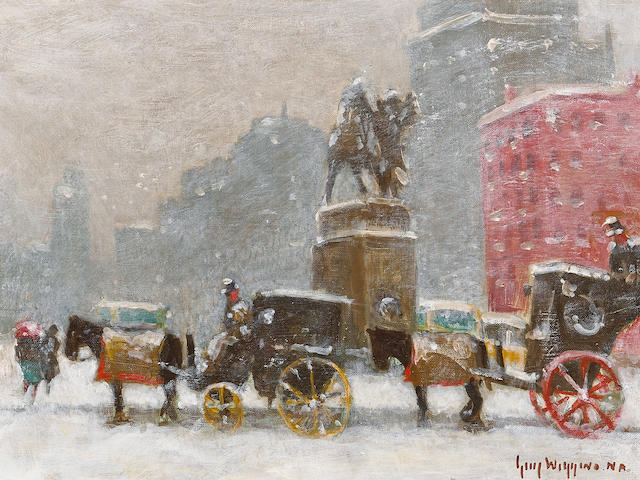 Guy Carleton Wiggins (American, 1883-1962) Carriages at Grand Army Plaza, New York 12 x 16in