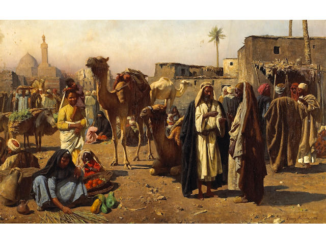 Franz Xavier Kosler (Austrian, 1864-1905) An Arab market scene 24 3/4 x 39 1/2in (62.9 x 100.4cm)
