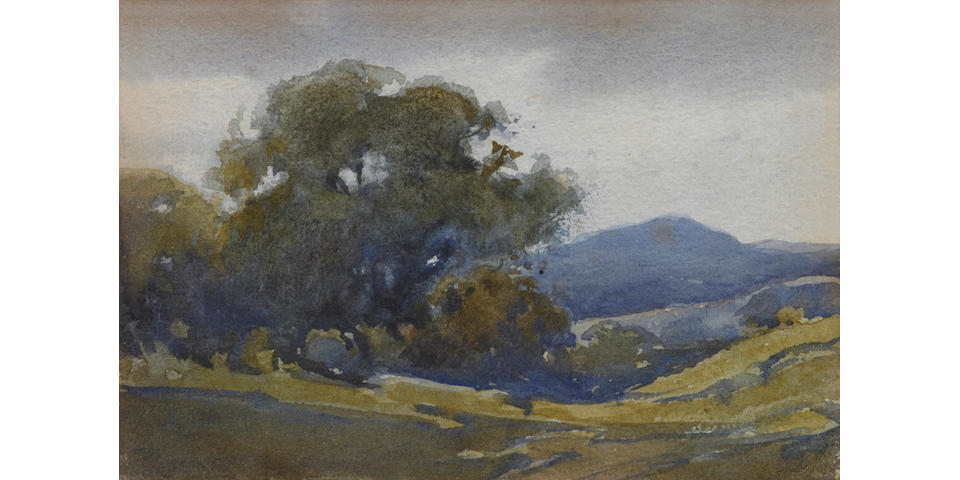 Percy Gray (1869-1952) Old Oaks with Mount Tamalpais in the Distance 4 1/2 x 6 1/2in