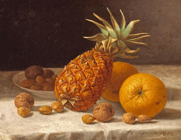 John F. Francis (American, 1808-1886) A Still Life with Pineapple, Oranges, and Nuts, 1866 10 3/4 x 13 3/4in