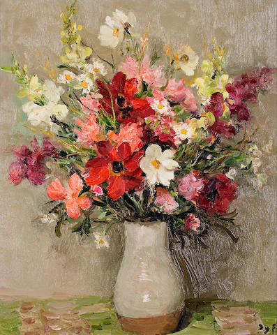 Marcel Dyf (French, 1899-1985) Dahlias and Cosmos (no. 417), c. 1967 21 1/2 x 18in (54.6 x 45.7cm)